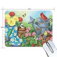 マウスパッド 花の園 蝶々 ゲーミングマウスパッド 滑り止め 19 X 25 厚い 耐久性に優れ おしゃれ