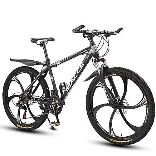 26 Zoll Mountainbike, Scheibenbremsen Hardtail MTB, Trekkingrad Herren Bike Mädchen-Fahrrad, Vollfederung Mountain Bike, 27 Speed,Schwarz,six cutter wheel