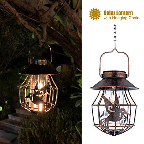 ExcMark Solar Lanterns Outdoor Hanging Solar Lights Decorative for Garden Yard Patio Pathway, with Filament LED Bulb. Hummingbird Gifts.