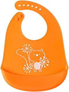 Ronshin Fashion Baby Cute Cartoon Printing Waterproof Silicone Bib Rice Pocket