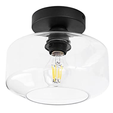 TeHenoo Industrial Ceiling Light Fixture with Clear Glass Shade Semi-Flush Mount for Dining Room, Bedroom, Cafe, Bar, Corridor, Hallway, Entryway, Passway
