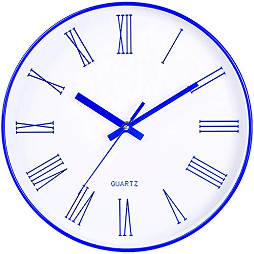 Everyday home Horloge murale moderne d'intérieur de 12 pouces avec le cadran en verre, horloge murale silencieuse ronde de non-regard de décor à la maison avec des chiffres arabes