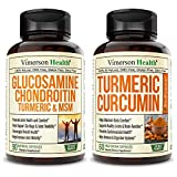 Vimerson Health Glucosamine Chondroitin + Turmeric Curcumin 2-Bottle Supplement Bundle. Occasional Joint Discomfort Relief, Inflammation Balancing and Antioxidant Properties. Immune Support