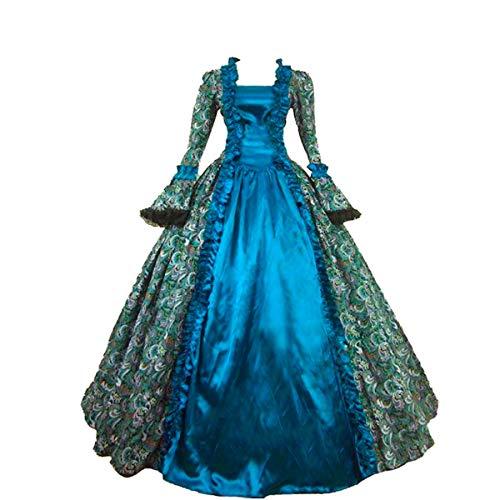 女性のビクトリア朝のロココドレスインスピレーション乙女衣装 コスチューム (XXXL:身長173~178 センチ;バストは127~132センチ;ウエスト:109−114, グリーン)