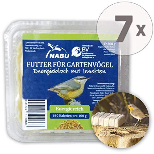 CJ Wildlife Energieblock mit Insekten für Wildvögel, Sparpack 7 x 300 g