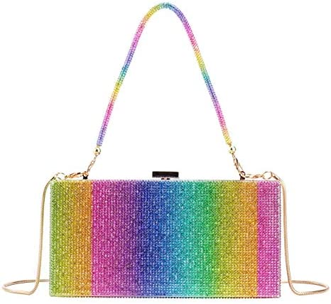 Women Rhinestone Rainbow Box Clutch Sparkling Bling Bling Crystal Diamond Evening Bag Purse product image