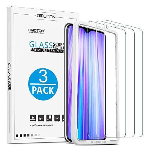 OMOTON [3 Stück] Panzerglas Schutzfolie für Xiaomi Redmi Note 8 Pro. Mit Positionierhilfe Panzerglasfolie für Xiaomi Redmi Note 8 Pro [9H Härte], [Anti-Kratzen], [Anti-Öl], [Anti-Bläschen].