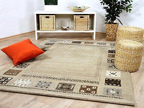 Natur Teppich Indo Gabbeh Esta Beige Braun Bordüre in 6 Größen