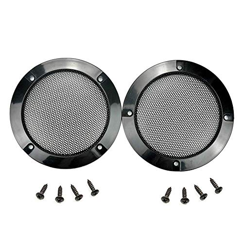 Floratek 2PCS 6.5 Inch Car Speaker Grill Cover Guard Protector with Black Metal Mesh Speaker Decorative Circle 8 Screws Included (6.5 Inch)