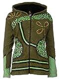 Patchwork-Strickjacke | Hippie-Jacke | Modell 'Flower Power' | Innenfutter aus Fleece | Damen | Goa-Jacket | Cutwork | Kapuzen-Sweatjacke | Individuell | Handarbeit aus Nepal