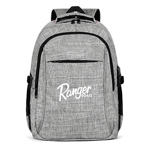 HYMANWASQHFT Laptop Best Backpack White-Used-Ranger-bass-Boats-for-Sale- Water Resistant School Bookbags with USB Port Sports