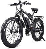 CASTOR Bicicleta electrica 26 Pulgadas de Bicicleta eléctrica Montaña Ebike 21 Velocidad 48V batería de Litio 4.0 Offroad 1000W Asiento Trasero Bicicleta de montaña eléctrica para Adulto, Azul