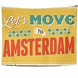 Tapices para colgar en la pared Visitando Letrero de metal vintage Vacaciones de los años cincuenta Muevamos los carteles de Amsterdam a símbolos 10 Tapiz de Holanda Manta de pared Decoración del hoga