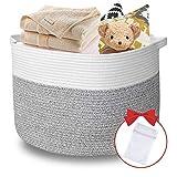 Hobby Colin 17' x 13' Large Woven Cotton Rope Basket, Laundry Basket,Blanket Basket,Children & Pet Toy Storage Basket, White/Grey Round Natural Woven Basket(XL)