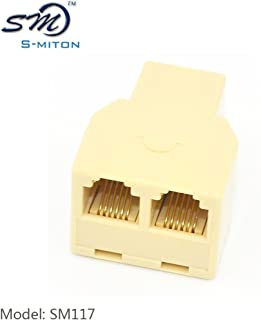 SMITON RJ12 6P6C 3Female Telephone Splitter Adapter Cable (Ivory)