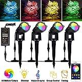 Bluetooth RGB Gartenbeleuchtung Außenleuchte mit erdspieß via App mit Timer, Sync mit Musik, Dimmbare, 4 * 12W LED Gartenstrahler mit stecker Wasserdicht Gartenlampe Spotbeleuchtung