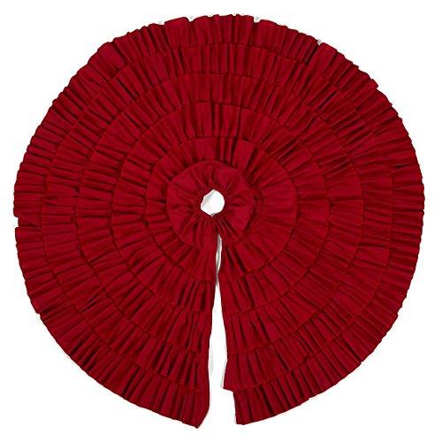 Christmas Tree Skirt - Circular Xmas Tree Decoration Fabric Christmas Tree Decor(48 Inches, Red Ruffled Trim)