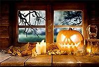 Qinunipoto 背景布 ハロウィン happy halloween 夜 窓の外 丸い月 枯れ木 パンプキンライト ろうそく 撮影用 写真スタジオ 写真の背景幕 cosplay背景 写真撮影用 ハロウィン背景 ビニール 2.5x1.8m