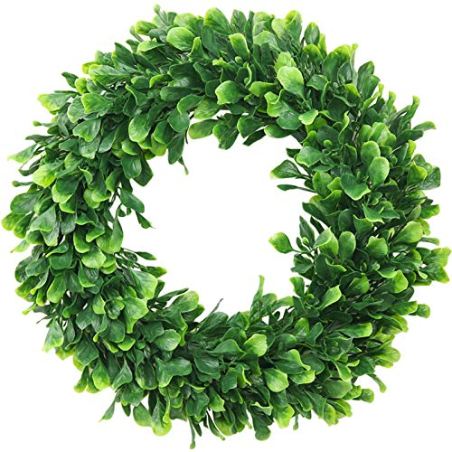 """ElaDeco Faux Boxwood Wreath 15"""" Artificial Green Leaves Wreath for Front Door Hanging Wall Window Wedding Party Decoration"""