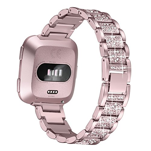 bayite Bling Bands Compatible with Fitbit Versa/Versa 2 for Women, Dressy Metal Bracelet Rhinestone Jewlery Wristband, Rose Gold