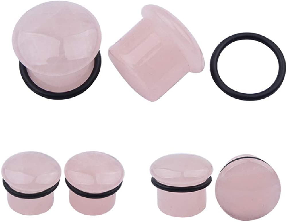 Single Flared Rose Quartz Pink Ear Gauges Plugs Tunnels Expanders Natural Organic Stone Earrings Body Piercing Jewelry