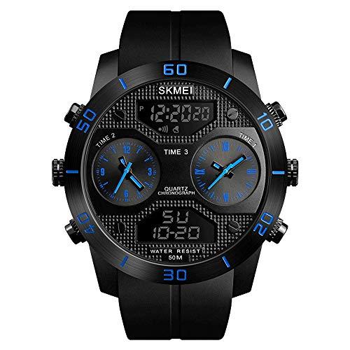 AZPINGPAN Reloj para Hombre Reloj Deportivo Impermeable 50M Reloj de Pulsera Relogio Masculino Militar 1355 Reloj para Hombre Digital Business Casual Relojes, Reloj de Pulsera de Esfera Grande