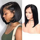 Peluca de pelo humano virgen brasileño corto de Bob pelo 13 x 4 encaje frontal peluca natural negro con pelo de bebé pre conectado para las mujeres