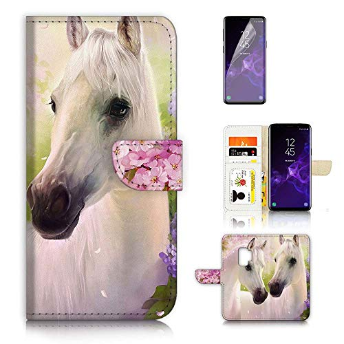Voor Samsung Galaxy S9, Flip Wallet Case Cover en Screen Protector Bundel, A31206 Wit Paard