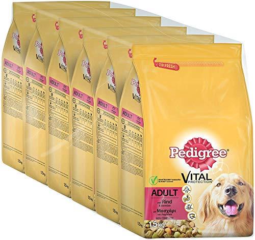 Pedigree Vital Protection Hundefutter Trockenfutter Adult mit Rind und Gemüse, 6 Beutel (6 x 1,5kg)
