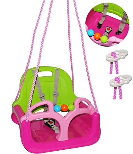 alles-meine.de GmbH Babyschaukel / Gitterschaukel - mitwachsend & umbaubar - mit Gurt -  ROSA / PINK  - Leichter Einstieg ! - 100 kg belastbar - Kinderschaukel ab 1 Jahre - mit..