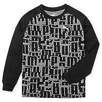 (ブラック 160cm)男児 ジュニア PUMA/プーマ 本体コットン100% 長袖 Tシャツ 総柄 子供服 男の子 a-2497b-bk