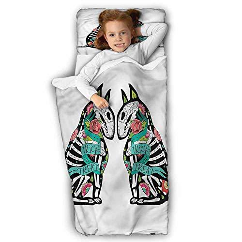 Halloween Kids Sleeping Bag Skeleton Demon Soft Microfiber for Preschool 50X20 INCH