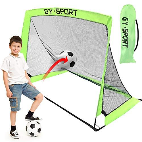 Yodeace Porteria Futbol Niños, 120 x 70 x 90cm Portátil Red de Fútbol de Poliéster Plegable Fácil de Montar para Niños Adultos Práctica de Fútbol Patio Trasero para Interiores Y Exteriores