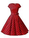 Dressystar Vestito Stile Audrey Hepburn a Maniche Corte, Classico, Vintage, Anni 50 e 60 Rouge À Pois Noir B S