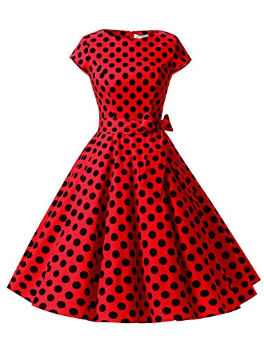 Dressystar Damen Vintage 50er Cap Sleeves Dot Einfarbig Rockabilly Swing Kleider Rot Schwarz Dot B XS