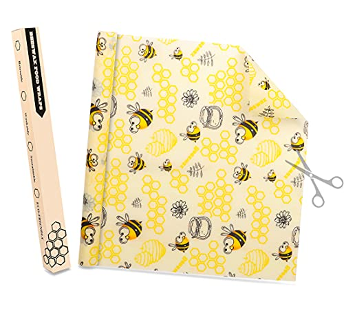 Bienenwachstücher Rolle 35X100CM, CRRMW Wiederverwendbare Bienenwachstuch, Natürliche Wachstücher für Lebensmittel, Waschbare Beeswax Wrap Alternative zur Frischhaltefolie