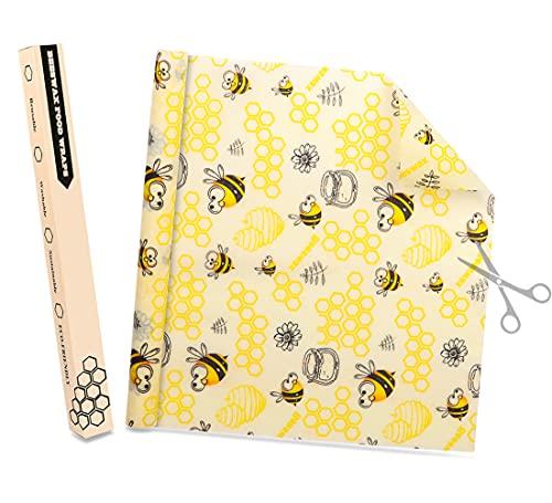 DIY Bienenwachstücher Rolle 35X100CM, CRRMW Wiederverwendbare Bienenwachstuch, Natürliche Wachstücher für Lebensmittel, Waschbare Beeswax Wrap Alternative zur Frischhaltefolie
