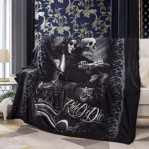 Vankie Ride or Die Motorcycle Biker Lovers Luxury Royal Plush Blanket 60'x 80' inch (Style 1)
