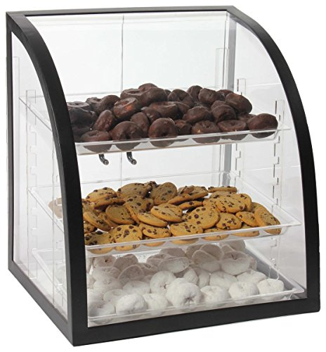 Clear Acrylic Food Display Case with Black Metal Frame, 18 x 17-3/4 x 16-1/4-Inch, Rear-Loading Doors and 3 Removable Trays
