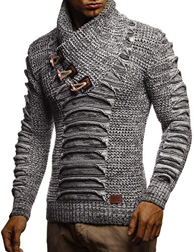 LEIF NELSON Men's Knit Sweater | Pullover With Shawl Collar | Sweatshirt Slim Fit LN5575; 3X-Large, Gray-Black
