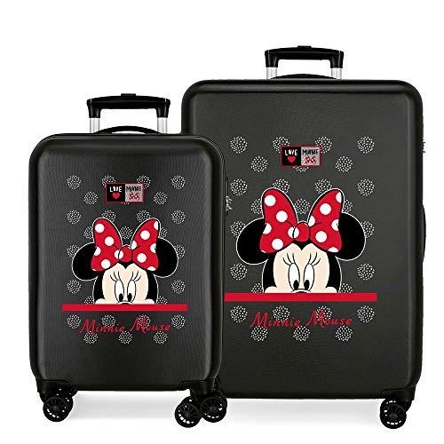 Disney My Pretty Bow Juego de Maletas Negro 55/68 cms Rígida ABS Cierre de combinación Lateral 104L 2,66 kgs 4 Ruedas Dobles Equipaje de Mano