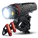 bike headlight and 2 led rear bike tail lights set, usb rechargeable bicycle led front and back