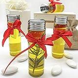 Botella de cristal con tapón de hojalata y lazo rojo con aceite de oliva aromatizado, disponible en 4 tipos, ideas de regalo para la alimentación (aceite extra con caja tiffany)