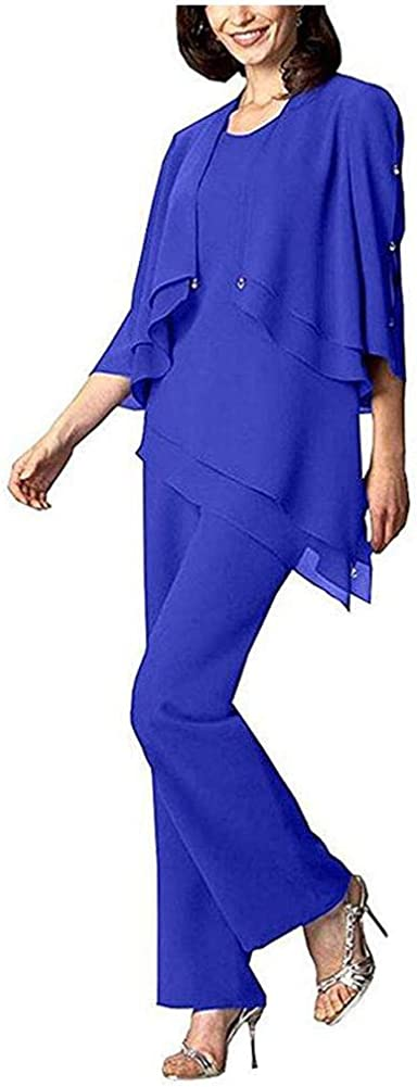 Women's Chiffon Pants Suits Mother of The Bride 3 Pieces Set Wedding Party Outfit Evening Dress