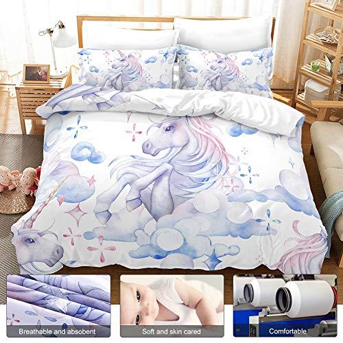 Fdit Bettwäschesatz Bettbezug Children 3D Cloud Unicorn Soft Atmungsaktiv MEHRWEG VERPACKUNG socialme-eu(Us-küste)