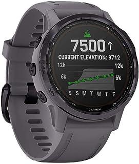 Garmin Fenix 6S Pro Solar, 42mm Acciaio Ametista con Cinturino Grigio Roccia - GPS Smartwatch con Ricarica Solare, Display...