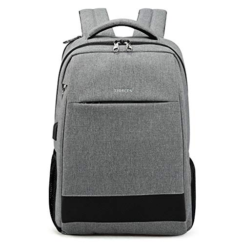 Tigernu Laptop Backpack with USB Charging Port,Anti Theft Computer Bag for Business Travel,Water Resistant Daypacks for Men/Women, Slim College School Bookbag for 15.6 inch Notebooks/Laptops, Grey