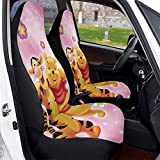 Winnie Cartoon Pooh Bear Tigger Car Seat Covers Soft Comfortable and Elastic Car Seat Protective Case Made of Polyester, Suitable for Most Family Cars 2 PCS