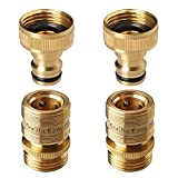 GORILLA EASY CONNECT Garden Hose Quick Connect Fittings. ¾ Inch GHT Solid Brass. (2)