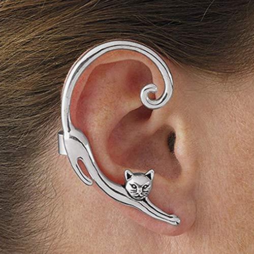 GMZOO Rechts en links Rock Cat Stud Oorbellen voor vrouwen Nachtclub Animal Ear Climbers Oorbellen Chic Ear Wrap Jewelry Bijoux
